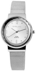 Damenuhr-Weiss-Silber-Analog-Metall-Meschband-Armbanduhr-Quarz-D-60463614145650