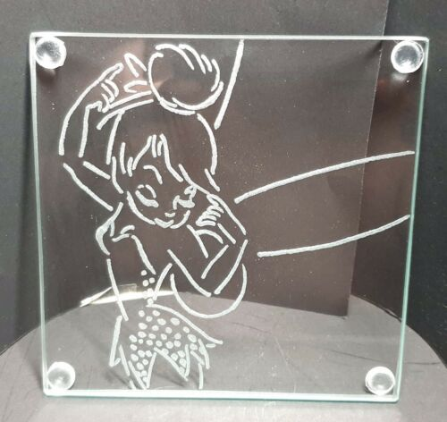Disney Tinkerbell Hand Engraved Coasters X4