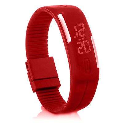 Digital Silikon Led Armband Uhr Armbanduhr Watch Herren Damen Kinder Rot Sport