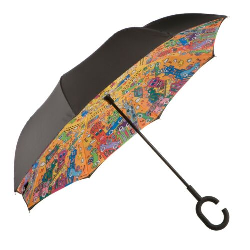 Goebel Not Getting Around Regenschirm James Rizzi Stockschirm UpsideDown Öffnung