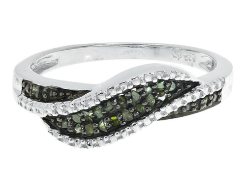 White Gold Finish Ladies Green Diamonds Wave 6mm Fashion Band Ring 0.20 ct