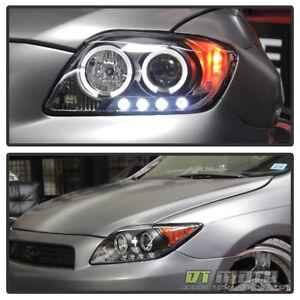 Black 2008 2009 2010 Scion Tc Led Halo Projector Headlights