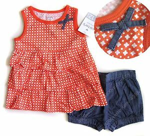 d1d47c671cdc Carter s baby girl orange pattern bow 2 Piece Ruffled Top   Chambray ...