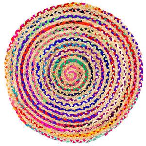 Morgenland-SISALO-Runder-Teppich-Kelim-Sisal-Wolle-Jute-Handgewebt-Kurzflor-Mode