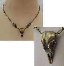 Gold Raven Skull Pendant Necklace Bird Jewelry Handmade NEW Adjustable Fashion