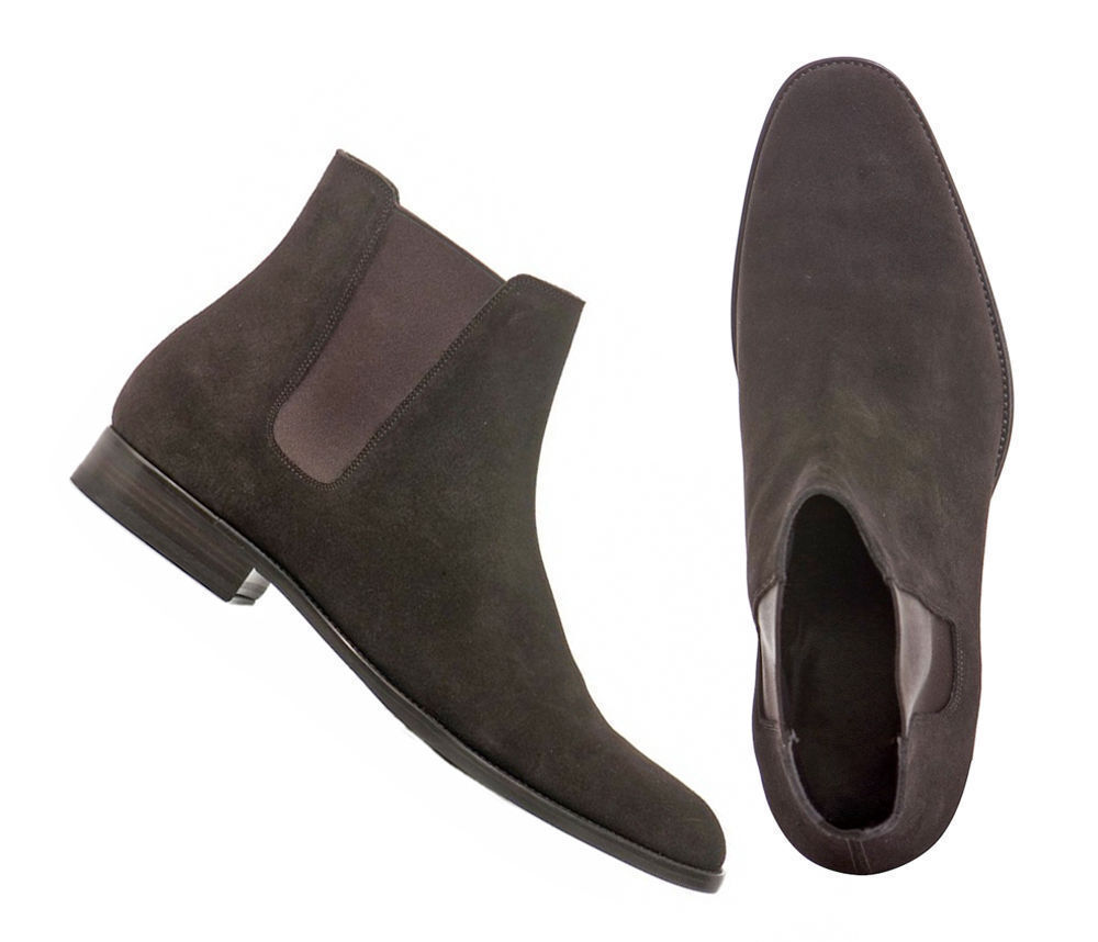 MEN NEU HANDMADE REAL SUEDE LEATHER CHELSEA ANKLE HIGH BOOTS CUSTOM MADE