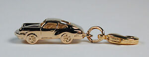 Gold-Plated-Sterling-Silver-Porsche-911-Sports-Car-Charm-Free-U-S-Shipping