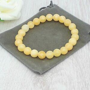 Handmade Natural Yellow Jasper Gemstone Stretch Bracelet & Velvet Pouch. 4/6/8mm