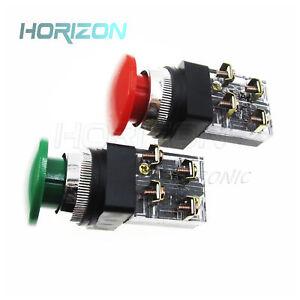 2PCS-DPST-NO-NC-4P-Rosso-Verde-Fungo-Pulsante-ad-impulso-Interruttore-di-corrente-alternata-6A