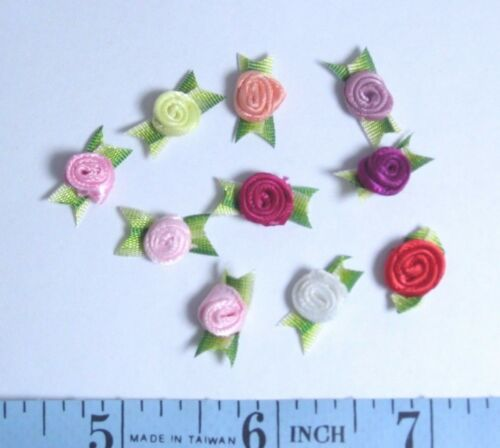 """36 Pc Satin Ribbon Snake Rose Tiny 1//4/"""" Flower w//1/"""" Leaves Doll Clothes"""