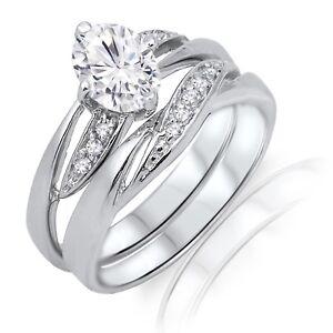 Brillante-Ovalado-Diamante-Sintetico-Plata-de-Ley-Set-de-Anillo-de-Compromiso