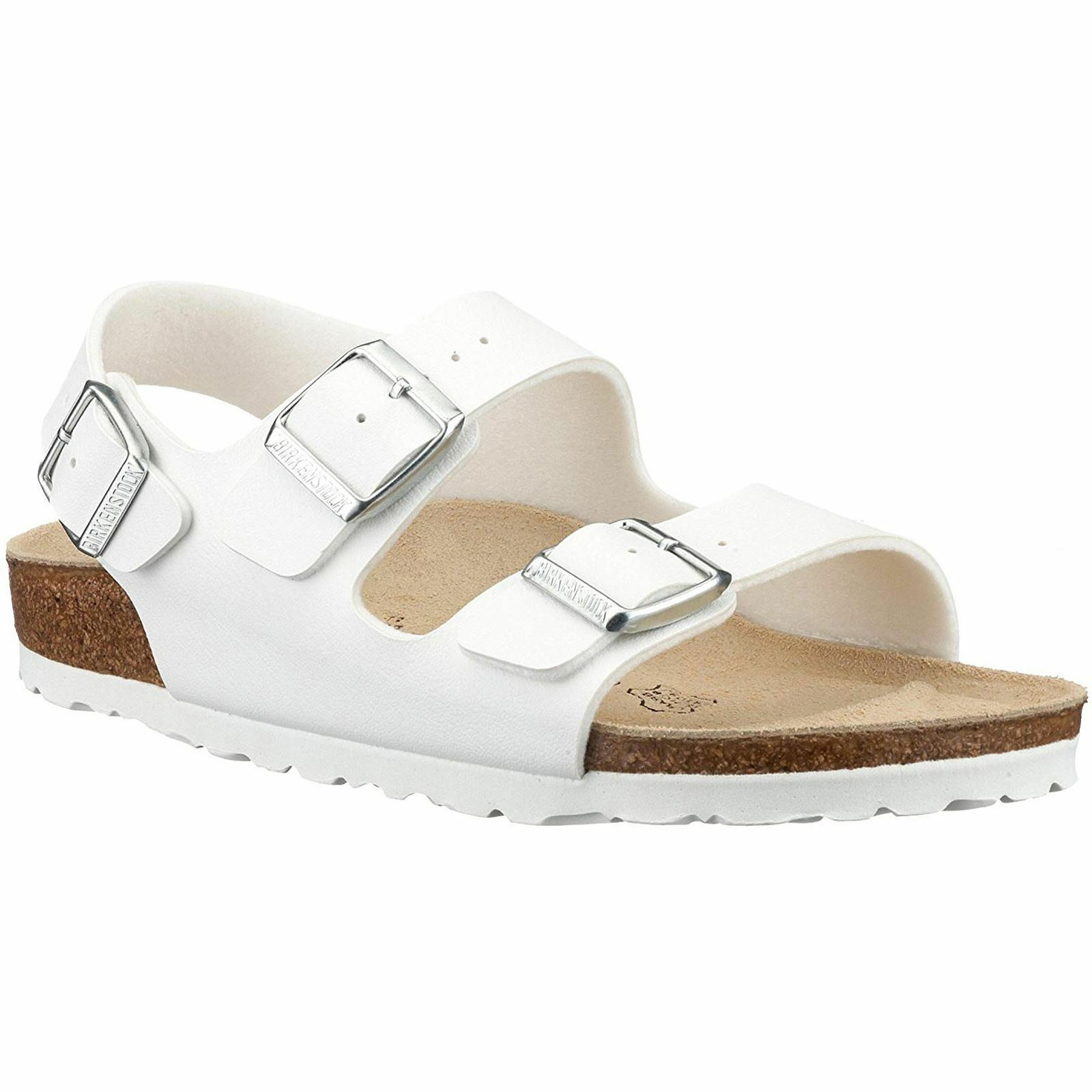 Birkenstock Milano White Mens Birko-Flor Sandals Three Straps Sandals Birko-Flor 85c13f