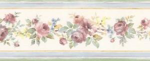 Wallpaper-Border-Mini-Victorian-Watercolor-Rose-Floral-with-Blue-Edges