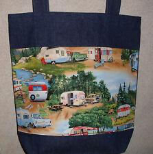 NEW Handmade Large Classic RV Camper Travel Trailer Campground Denim Tote Bag