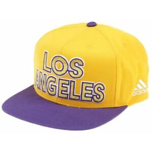 Adidas Los Angeles Lakers Hat Snapback Flat Cap Yellow Purple Lebron ... c8d3d8f0bbb