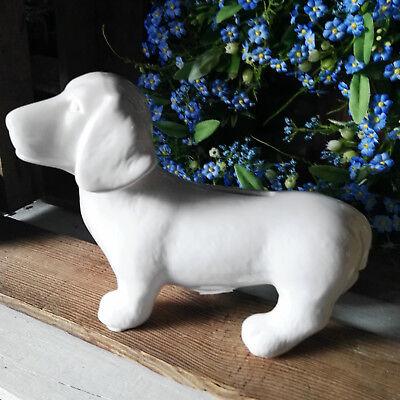 Ausdrucksvoll Dackel Teckel Hund Dachshund Figur Keramik Hunde Spardose Moneybox Dog Weiß Kann Wiederholt Umgeformt Werden.