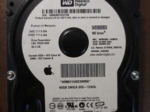 Western-Digital-WD800BD-40MRA1-DCM-DSBANTJAA-Apple-655-1243A-80gb-Sata-3-5-034-HDD