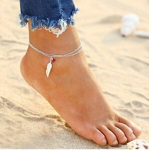 Feder Silber Edelmetall ☆ Invigorating Blood Circulation And Stopping Pains ☆ Silberne Fußkette 24-29cm Rote Perle Edel