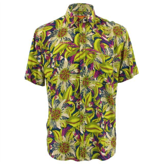Men/'s Loud Shirt TAILORED FIT Floral Blue White Retro Psychedelic Fancy