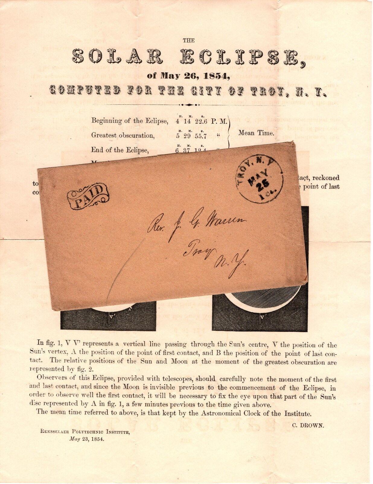 ECLISSE SOLARE anulare circolare 26 MAGGIO 1854 con ENV  Troy NY 1ct MAGGIO 25.  NEW YORK