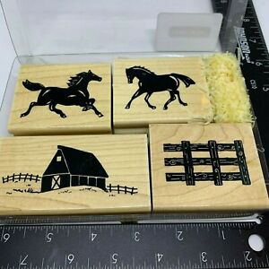 JRL-Design-Rubber-Stamp-Horse-Play-Horses-Farm-Barn-Fence-Set-of-4-CTMH