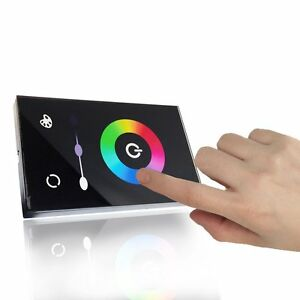 glass touch panel full color control dimmer wall switch for rgb led strip light ebay. Black Bedroom Furniture Sets. Home Design Ideas