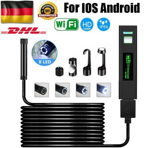 DE 2-10 M WiFi Endoskop USB Endoscope Inspektion Kamera 8 LED für iPhone Android