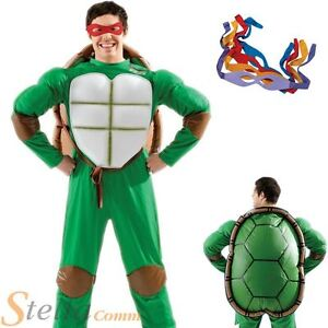 260715e80ad Details about Mens Teenage Mutant Ninja Turtles Costume Retro 80s Fancy  Dress Halloween Outfit