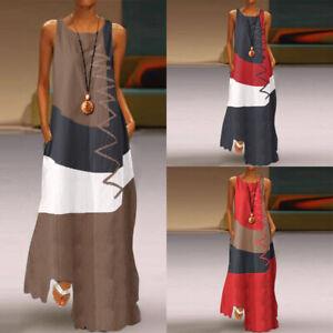 ZANZEA-Femme-Casual-en-vrac-Simple-Sans-Manche-Couture-Col-Rond-Robe-Maxi-Plus