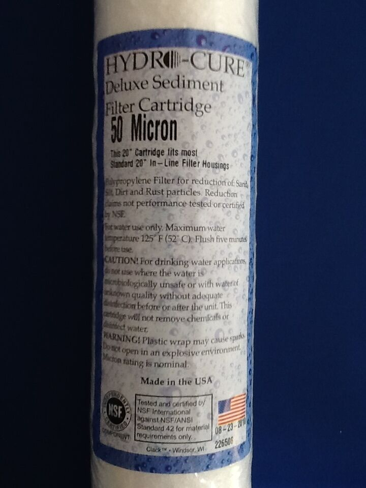 HYDRO CURE DELUXE 50 MICRON 20 x2.5  SEDIMENT FILTER - 12 FILTERS