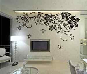 Image Is Loading Large Butterfly Vine Flower Mural Art Wall Stickers