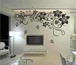 Image Is Loading Large Butterfly Vine Flower Mural Art Wall Stickers  Part 42