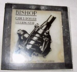 VINTAGE-MAGIC-LANTERN-SLIDE-OF-BISHOP-039-S-ADVERTISING-CAM-ROLLER-STEERING-GEAR