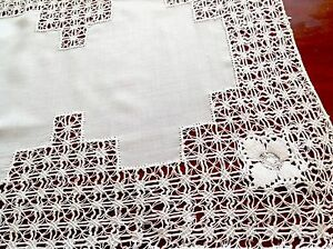 VINTAGE-DRAWNTHREAD-WORK-WHITE-RAYON-LINEN-TABLE-CENTRE-TRAY-CLOTH-16X13-INCH