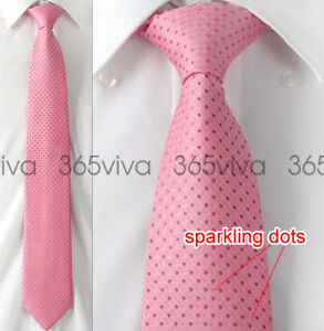 New-Pink-Dot-Men-Handmade-Necktie-100-Woven-Silk-8-cm-Wedding-Neck-Tie