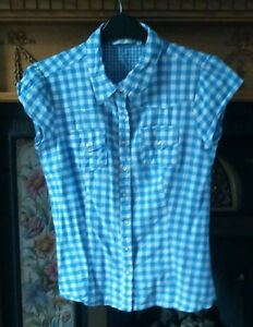 NEW-LOOK-BLUE-CHECK-SIZE-12-GIRLS-SHORT-SLEEVE-BLOUSE