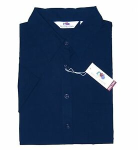 Fruit-of-the-Loom-Bluse-lang-XL-Navy-blau-Easy-Care-Lady-Fit-Poplin-Shirt-Hemd