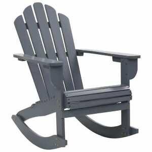 vidaXL-Garden-Rocking-Chair-Wood-Grey-Outdoor-Porch-Rocker-Armchair-Seating