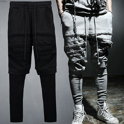 ByTheR Men's Fashion  Knee Incision Cotton Layered Trainning Pants  P000BIOB