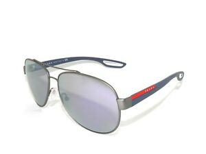 24f658612a5 SALE!!PRADA SPORT SUNGLASSES 55Q 55 GUNMETAL RUBBER GRAY MIRROR BLUE ...