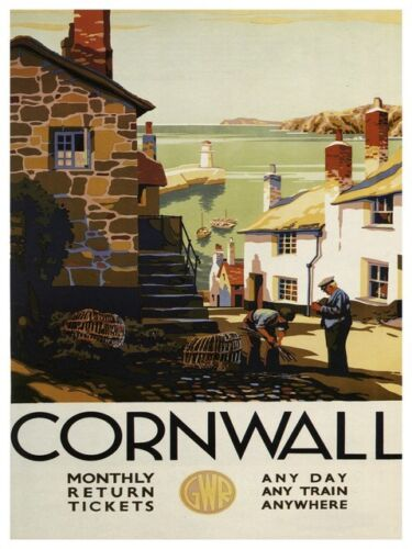 Cornwall Vintage Travel  advertising poster reproduction.