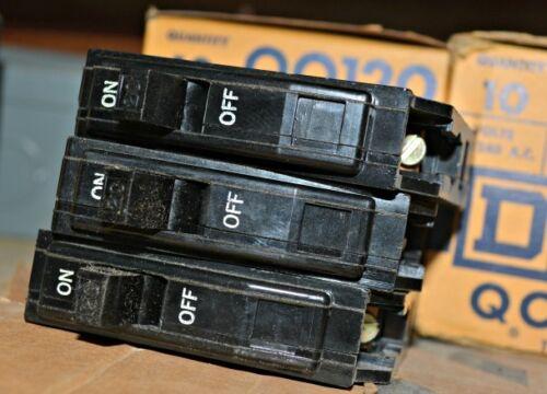 10-PK Lot SQUARE D QO120 20A SINGLE POLE 120V//240V PLUG ON CIRCUIT BREAKER NEW
