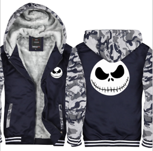 The Nightmare Before Christmas Jack Mens Winter Sweatshirts Thicken Hoodie Coat