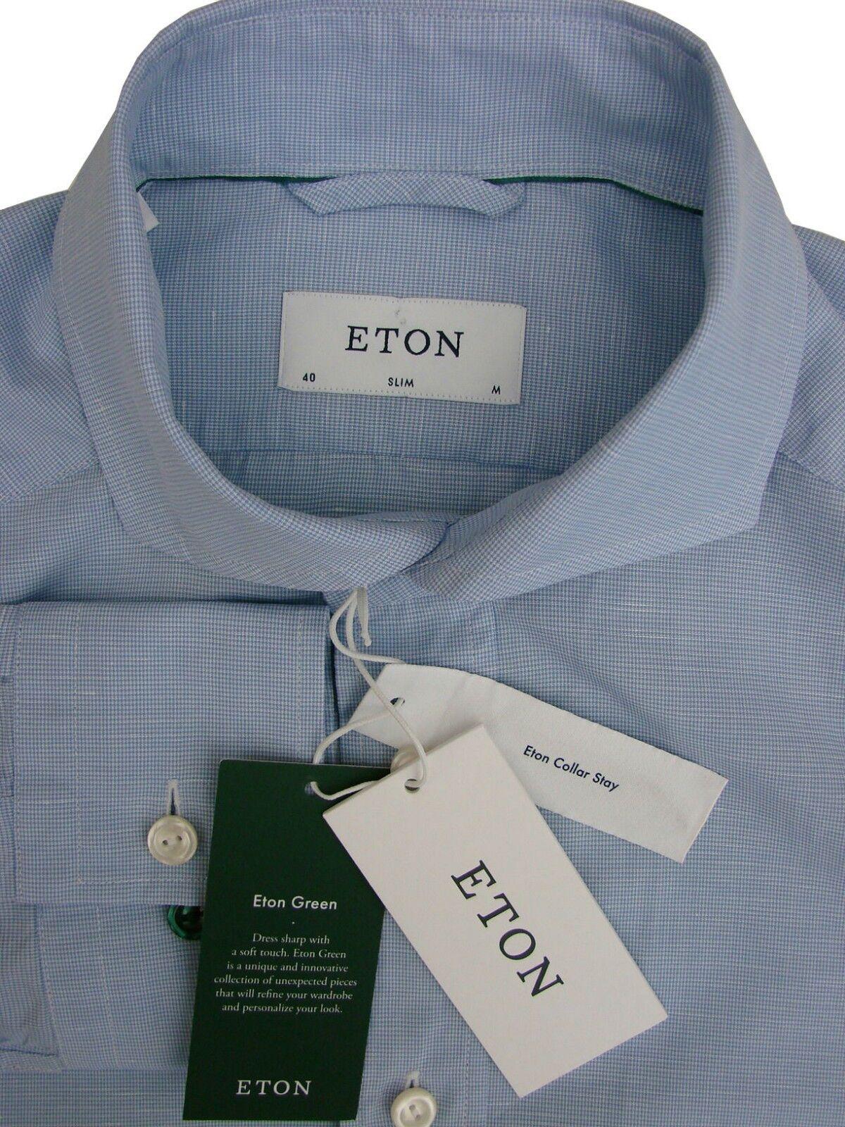 ETON Shirt  Herren 15.5 M Blau SLIM BATTERSEA NEW BNWT