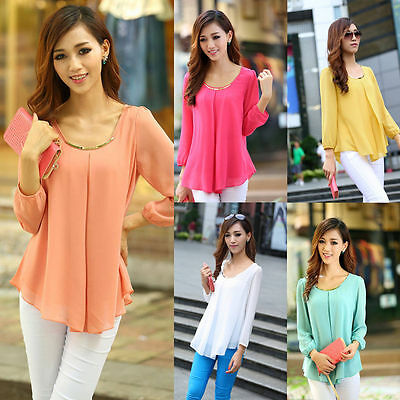 Stylish Korean Women's Loose Chiffon Shirt Long Sleeve Casual Tops Blouse