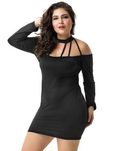 Womens Black Strappy Halter Neck Bodycon Backless Mini Little Black Party Dress