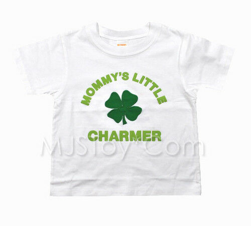 NWT Gymboree Embossed Mommy/'s Little Charmer White T-Shirt Appliqué Shamrock Tee