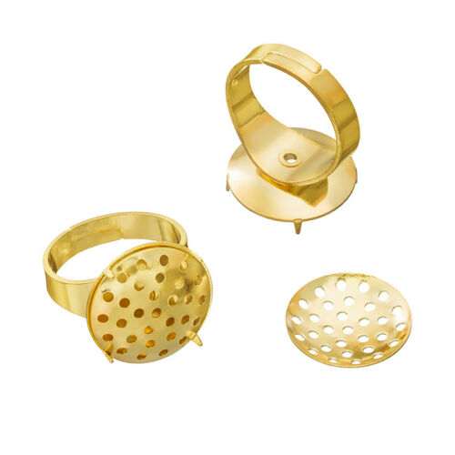 G96//8 Adjustable Ring Bases Gold Plated 16mm Sieve Disc Pack of 2
