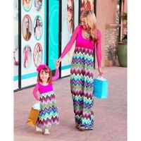 Mother Daughter Women Girls Stripe Stitching Long Dress Summer Family SunDress