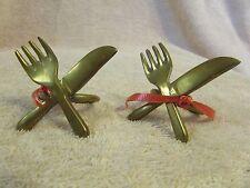 Vintage Brass Napkin Rings with Knife & Fork Crossed Utensils Gourmet set of 2